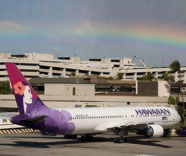 Hawaiian Airlines aircraft at the terminal