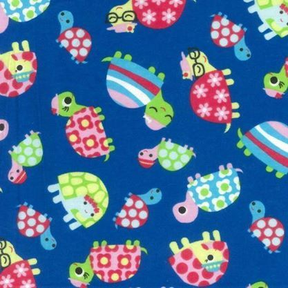 Turtles wincey flannel blue Quilt fabric