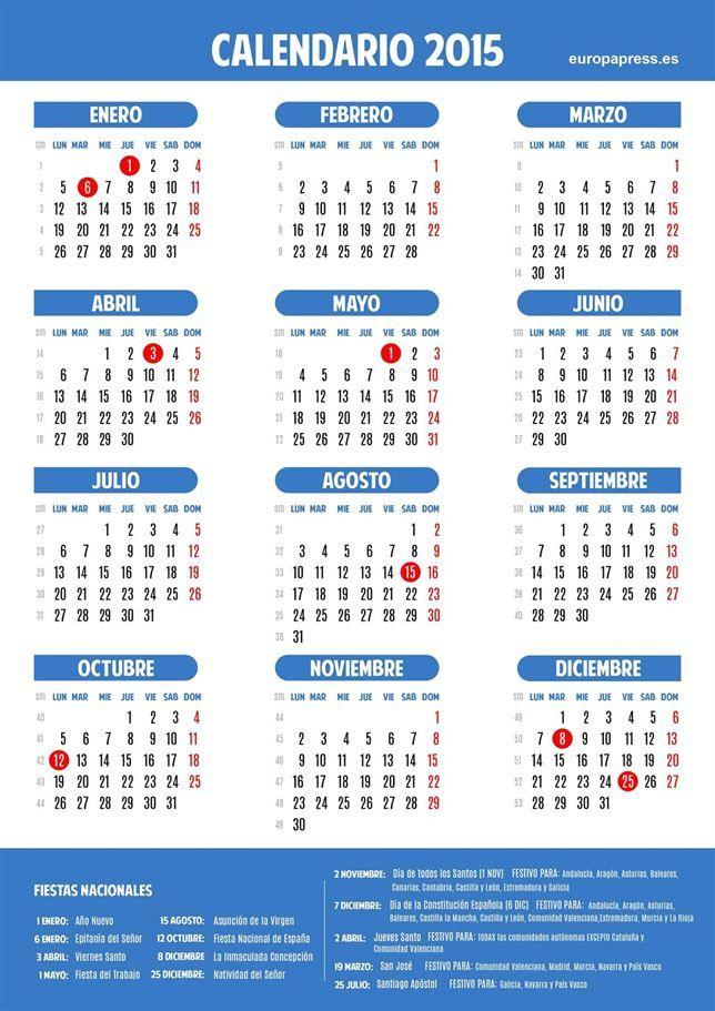 Calendario laboral del año 2015