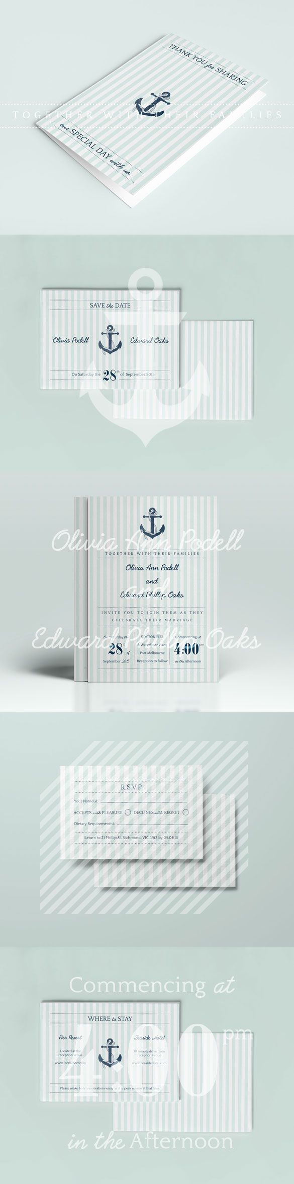 DIY Printable Wedding Invitation and Stationery Set Kit Nautical Anchor Yacht Boat Stripes Navy Blue Preppy Available for purchase: https://www.etsy.com/au/listing/183300232/diy-printable-wedding-invitation-and?ref=shop_home_active_1