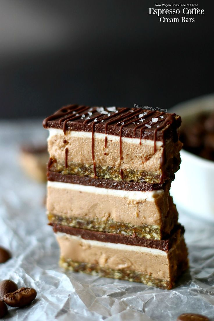 Easy vegan raw Espresso Coffee Cream Bars! Food Allergy friendly chocolate bar with gluten free nut free crust and dairy free coconut filling.