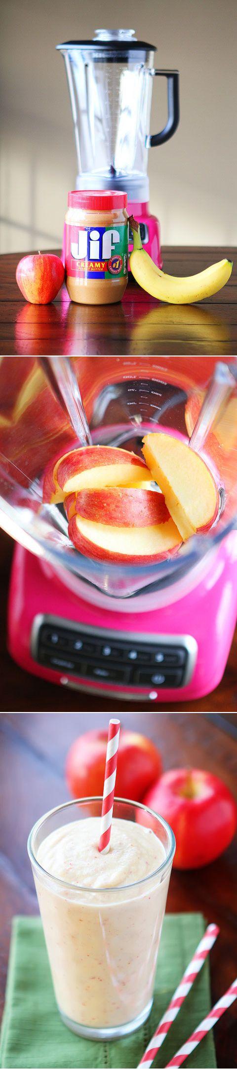 Peanut Butter Banana Apple Smoothie: 1 apple cut, 1 banana cut, 1 C ice cubes, 2 tbsp peanut butter. Put in blender and enjoy!