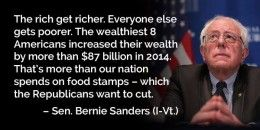 Senator Bernie Sanders is running for U.S. President for 2016. His main stand is to tax the billionaires so that anyone can get a free college education or anyone can get a job paying $15 an hour (new minimum wage).