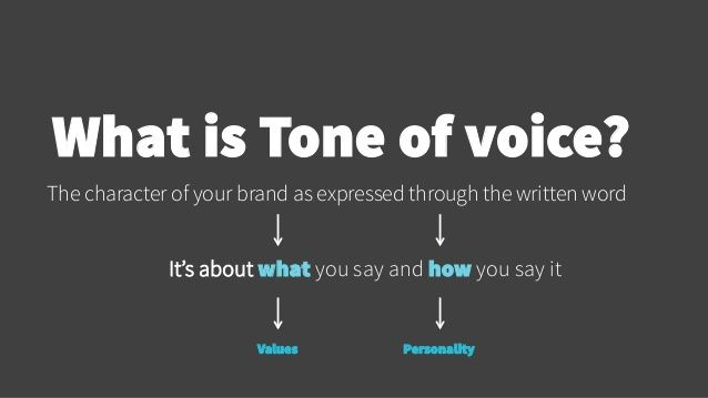 What is Tone of voice?  The character of your brand as expressed through the written word  It's about what yo u say and ho...
