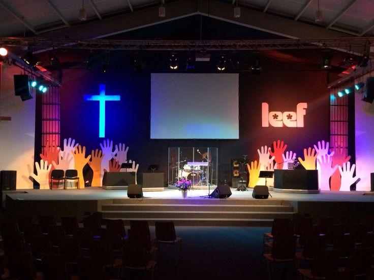 Thema; Leef @ City light Alkmaar. Podium decoratie / stage design in onze kerk gemaakt door me papa. Inspiratie van stagedisign.