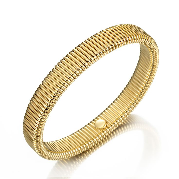 18ct Yellow Gold Layered Omega (Super Flex) Bangle | Allure Gold