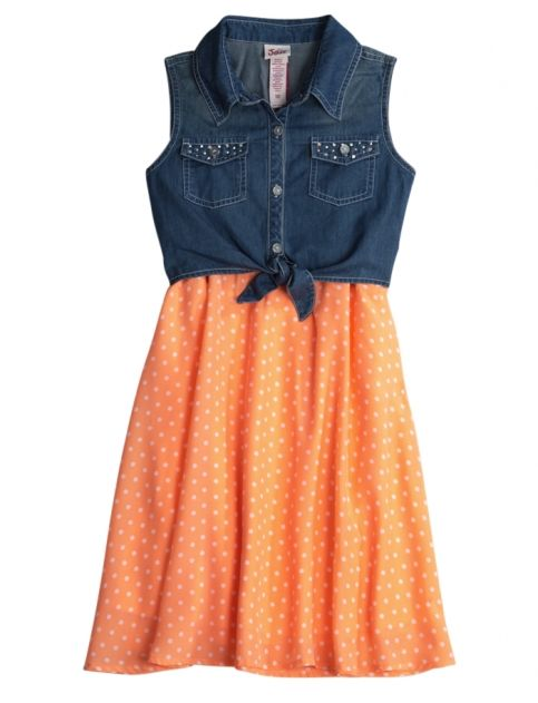 Cute with brown cowgirl boots. DENIM TIE FRONT DOT DRESS | GIRLS DRESSES CLOTHES | SHOP JUSTICE
