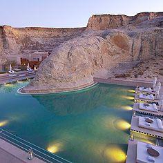 Amangiri Resort in Utah. Pool created around the natural rock formations.