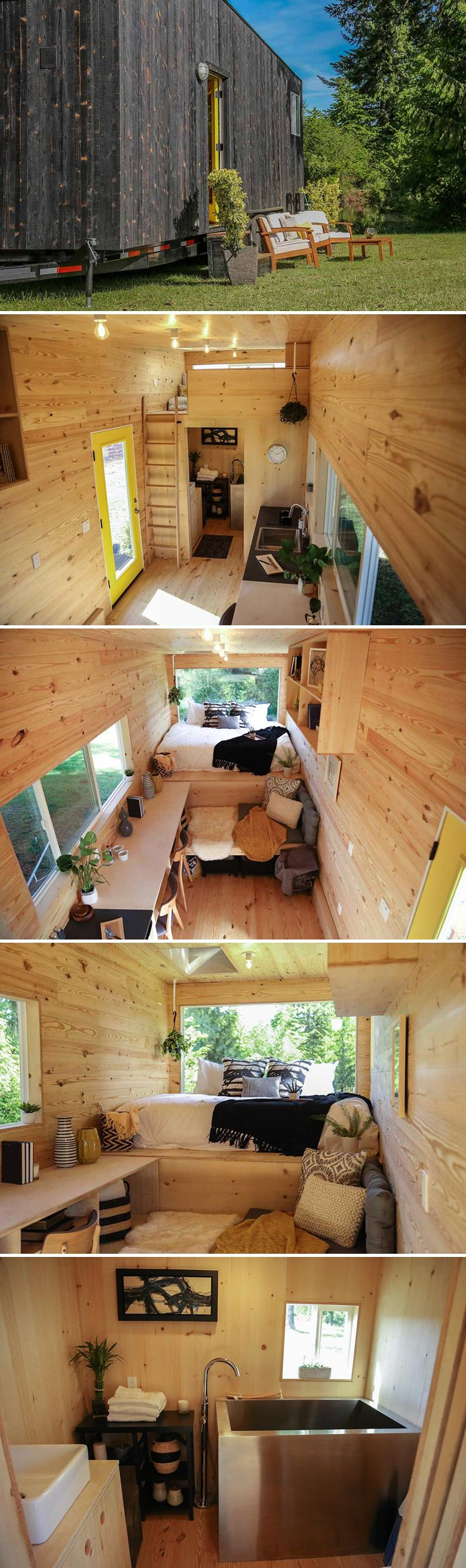 "The ""Tiny Home on the Coast"" features shou sugi ban siding, a main floor bed, and a Japanese-style soaking tub. Natural wood finishes were used throughout."