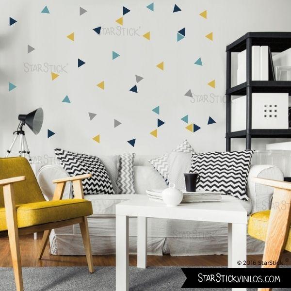 Triángulos Hipster mostaza - Vinilos decorativos de pared