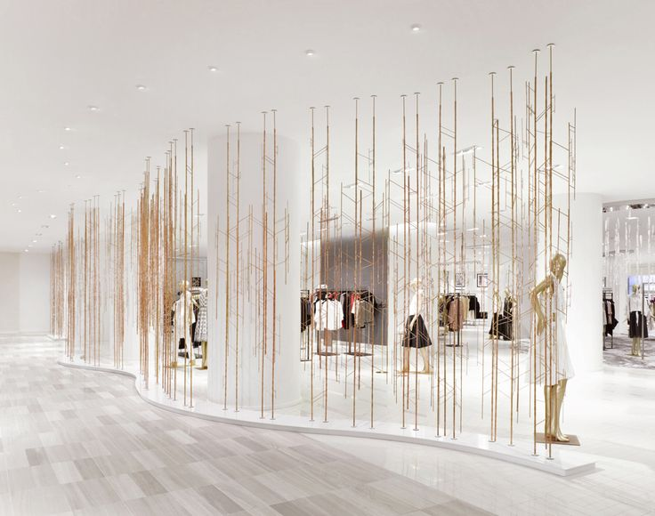 """SAKS FIFTH AVENUE, Toronto, Canada, """"Planting a metallic woodland"""", photo by FRAME Magazine, creative by Unitfive Design, pinned by Ton van der Veer"""
