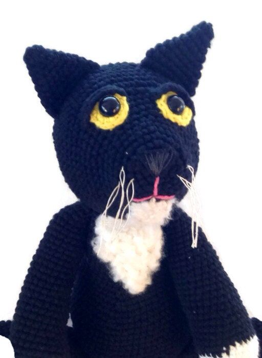 crochet black cat plush OOAK rag doll by AWickedStitchery on Etsy