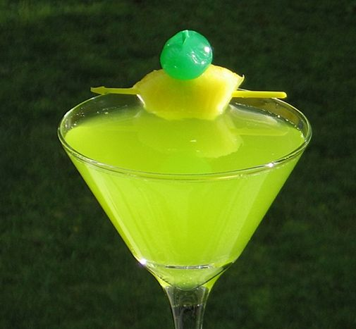 Shrek Martini - Halloween - St. Patrick's Day - sprite, pineapple juice, Peach Schnapps, melon liqueur, Malibu Coconut Rum, vodka.