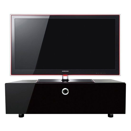 Awesome Cupric LCD TV Stand In Black Glass Top And High Gloss Black