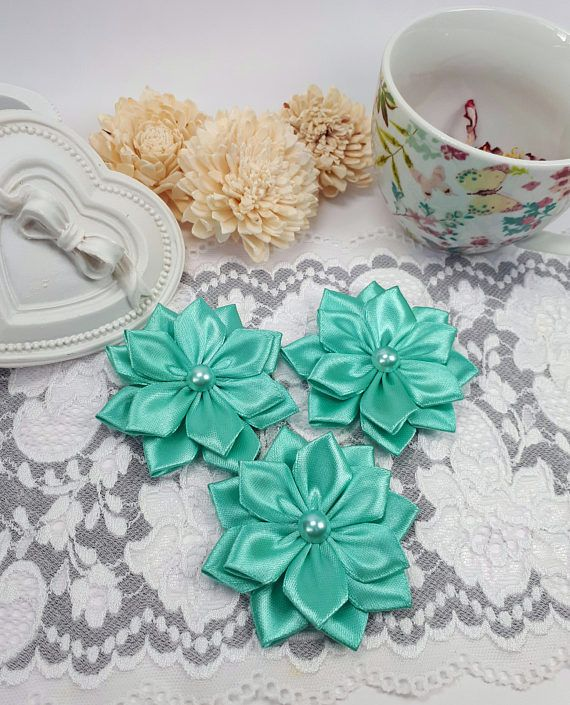 Turquoise applique flowers double layered flowers satin by Rocreanique on Etsy