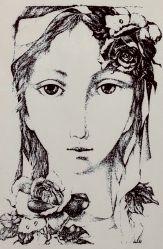 JIŘINCOVÁ Ludmila (1912-1994): Dívčí hlava v růžích.