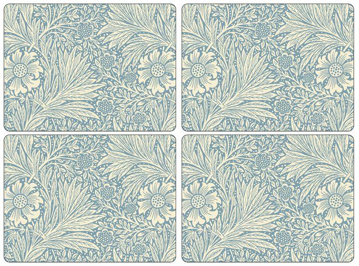 Set of 4 William Morris Marigold Blue Placemats