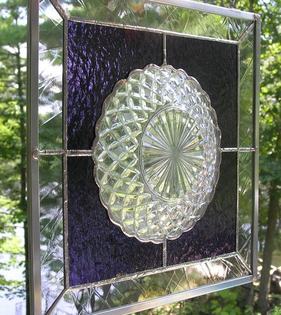 Stained Glass Panel, Vintage Glass Plate,  Heirloom, Old Fashion, Sun Catcher, Country, Unique, Purple, Grape Coloured,Vintage Plate