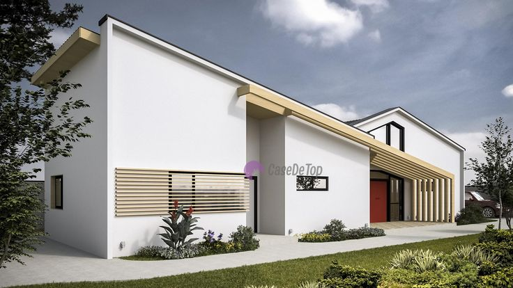Locuinta unifamiliala organizata pe parter, situata pe limita de proprietate, pe un teren ingust   Modern single-family dwelling, 155.00 sq.m  