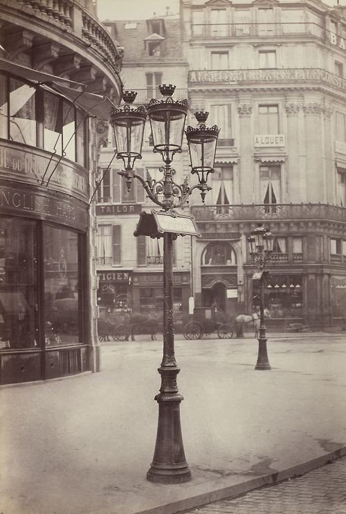 The Elegant Gas Lamps of Paris, 1877-1878, Charles Marville. French (Paris 1813 - 1879 Paris) / Tumblr