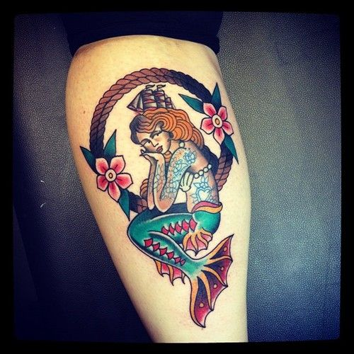 1000 images about american traditional mermaid tattoo on for Traditional mermaid tattoo