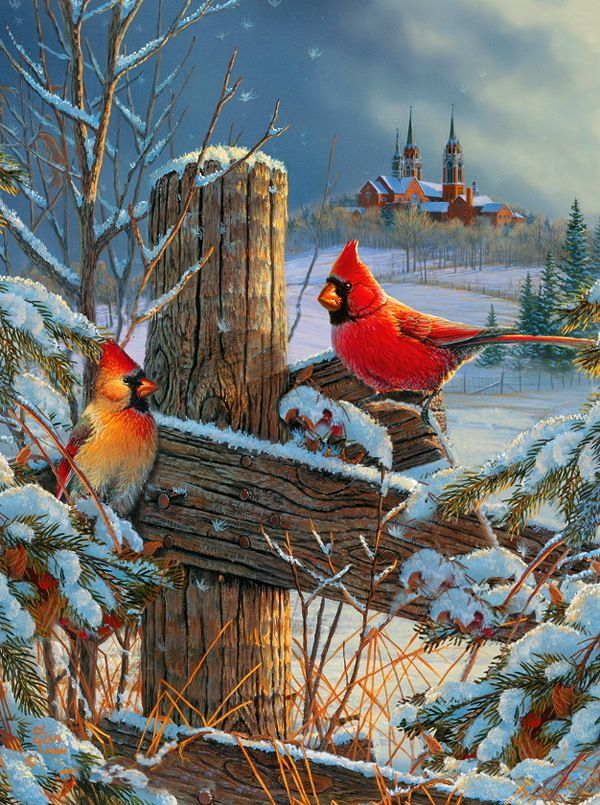 Holy Hillside Cardinal Birds 1000 piece Jigsaw Puzzle Art by Sam Timm