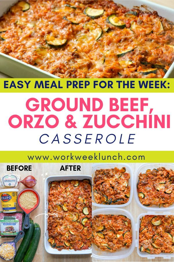 Ground Beef Orzo And Zucchini Casserole Recipe Easy Meal Prep Easy Vegetarian Casseroles Easy Meals