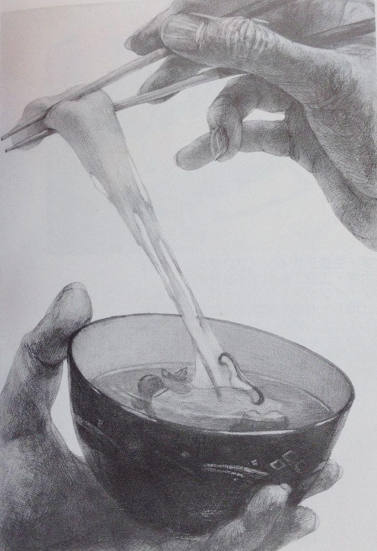 Zwei Hände mit Schüssel und Essstäbchen