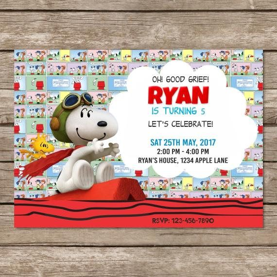 Peanuts Snoopy Invitation Birthday