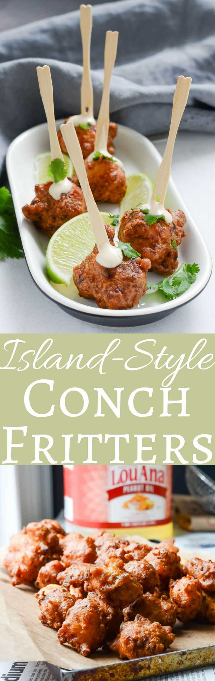 #ad #CreateWithOil #CollectiveBias This authentic recipe for conch fritters is easier than you think! Chunks of tender conch blended with veggies, hot pepper and a light, crispy beer batter are the closest thing to the Bahamas without the plane ticket!