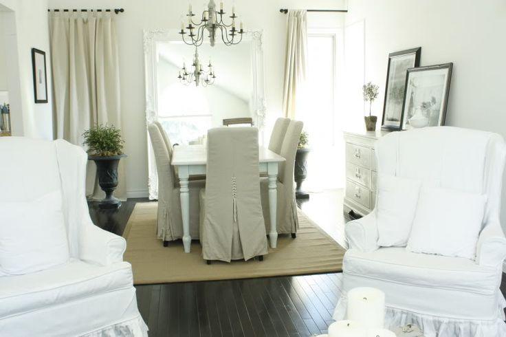 white slipcovers / khaki slipcoversDining Room, White Slipcovers, Living Room