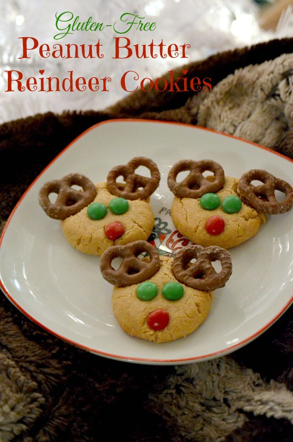 These gluten-free peanut butter reindeer cookies are so festive and fun for the holidays! They are also easy and kids love to help put them together.