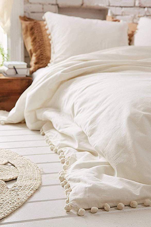 White Pom Pom Fringed Cotton Cover Full Queen 86 X90 Full Duvet Cover Duvet Covers Urban Outfitters White Duvet