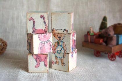 кубики `мишки-зайки`. кубики сделаны специально для книги 'Подарки своими руками', подробнее в блоге www.livemaster.ru/topic/533801-zhizn-prekrasna?vr=1&inside=1  ..с акварельных рисунков по мотивам моих работ... 6 кубиков - 6 картинок  возможен заказ по вашим…