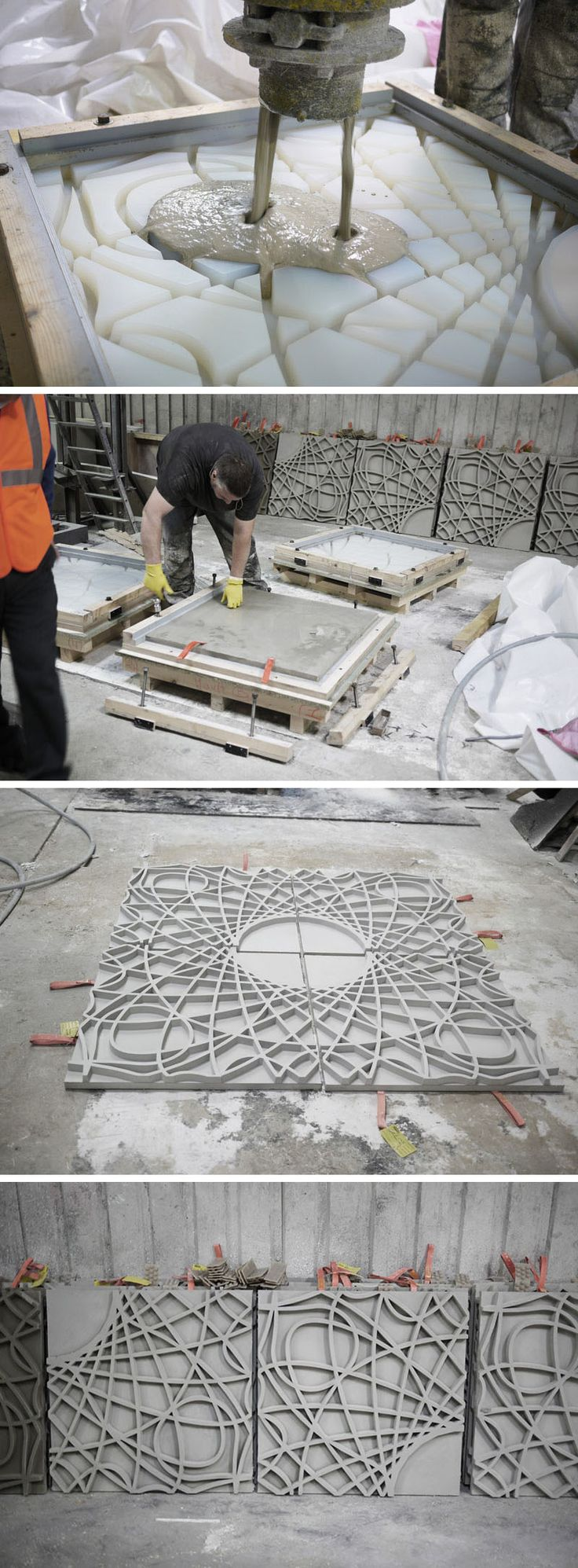 Concrete was poured into molds to create decorative concrete panels that were then installed on the facade of a building in France.
