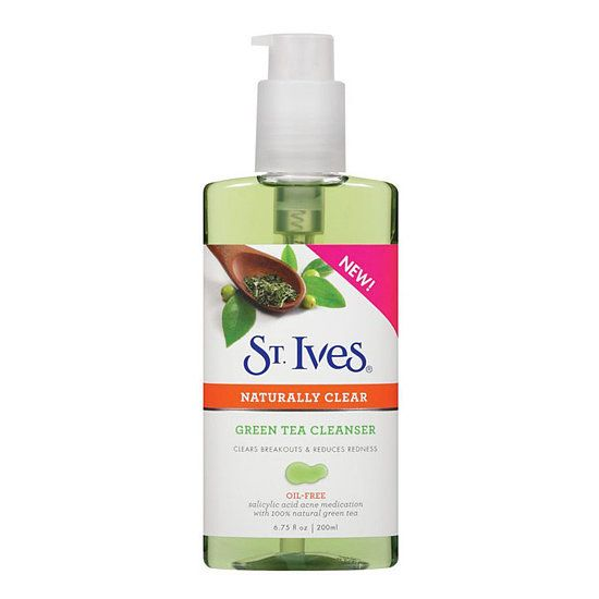 The new St. Ives Naturally Clear Green Tea Cleanser ($6) features salicylic acid to bust blemishes before they have a chance to pop up, and the green tea helps to calm redness from current breakouts.