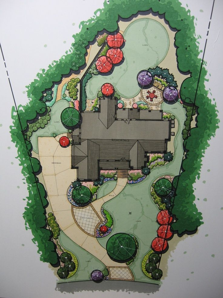 Landscape design perspective rendering helen thomas for Plan rendering ideas
