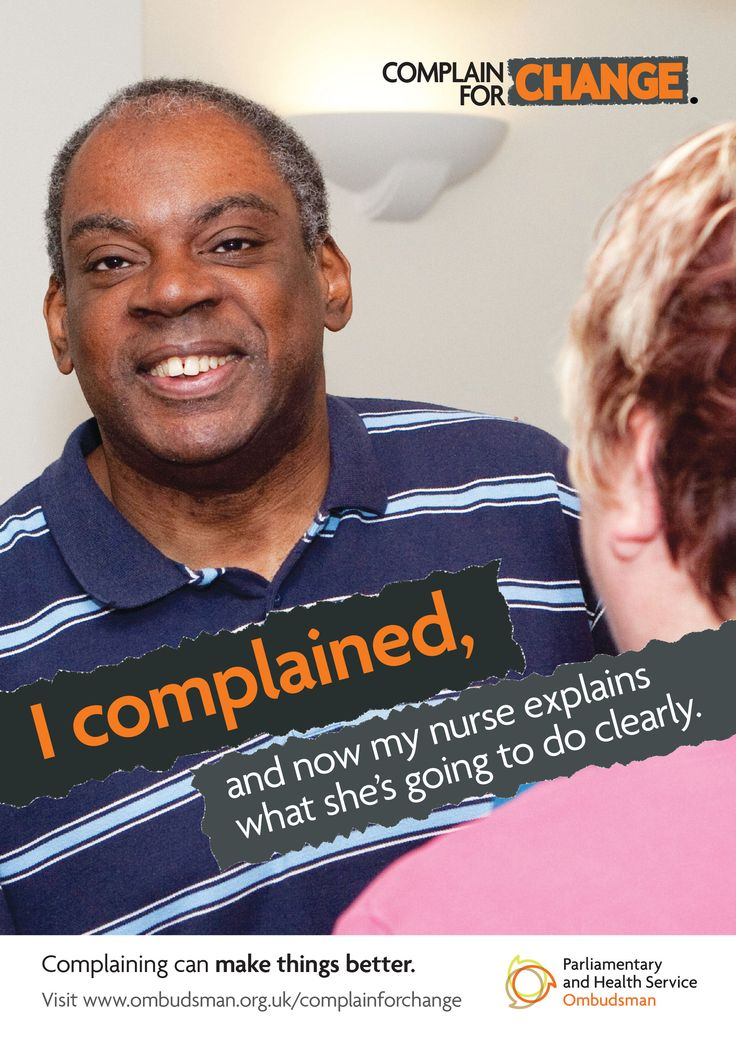This poster is one in a series of three posters aimed at people with a learning disability. It shows a man and says: 'I complained, and now my nurse explains what she's going to do clearly'.