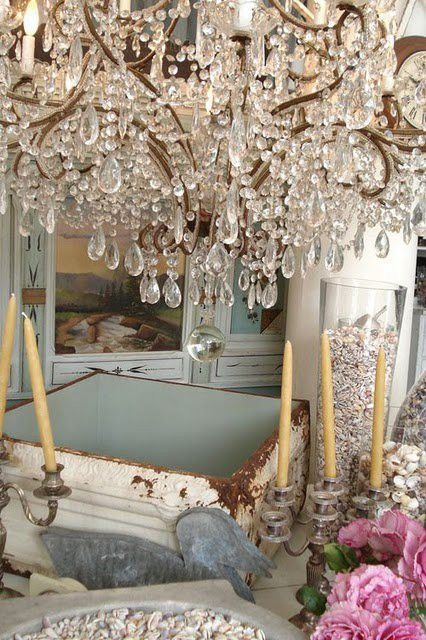 <3: Lights, Crystals Chand, Shabby Chic Decor, Style, Chandeliers, Pastel Pink, Decor Blog, Shabby Vintage, Vintage Decor