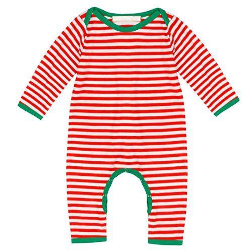 iiniim Unisex Neugeborenes Baby Kleinkinder Strampler Baumwolle Kurzarm/Langarm Weihnachten Spielanzug Streifen Jumpsuits Langarm Wei�&Rot 68-74/6-9 Monate