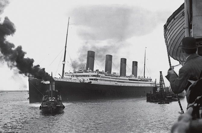 """As a tugboat guided the Titanic out of Southampton, photographers recorded the moment from a nearby ship. Five days later this symbol of the gilded age lay at the bottom of the North Atlantic. """"It's one of those stories that will always be told,"""" says explorer Robert Ballard."""