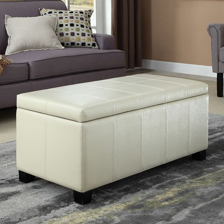 Simpli Home Dover Rectangular Storage Ottoman Bench, White Oth