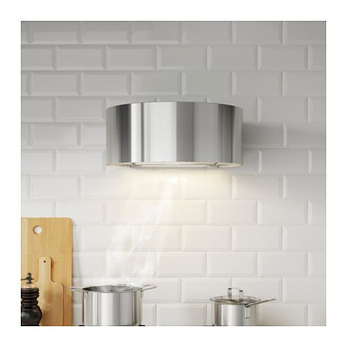 IKEA UDDEN wall mounted extractor hood Control panel placed at front for easy access and use.