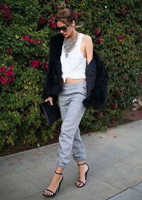 sweatpants-heels-fur-coat-style