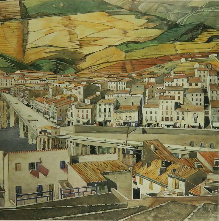 Charles Rennie Mackintosh  La Ville watercolour 1926