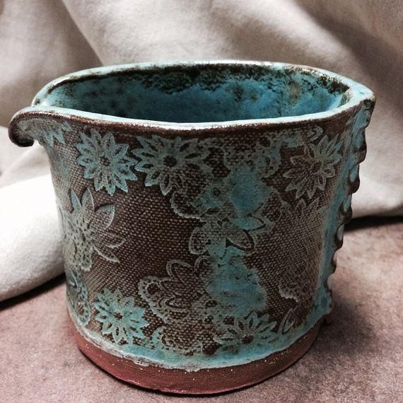 Turquoise Ceramic Flower Pot Herb Pot Ceramic Planter Handmade Artisan Pottery Hand Stamped Turquoise Glazed Red Earthenware Creamer Ceramika I Glina