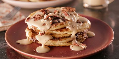 Cinnamon Bun Pancakes with Maple Cream Cheese Glaze Recipes | Food Network Canada
