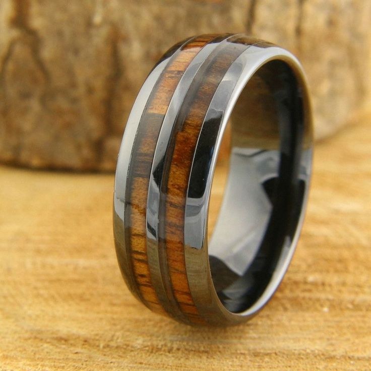 Vintage Wine Barrel Wedding Band 8mm Mens Wood Ring Crafted Out Of Ceramic And