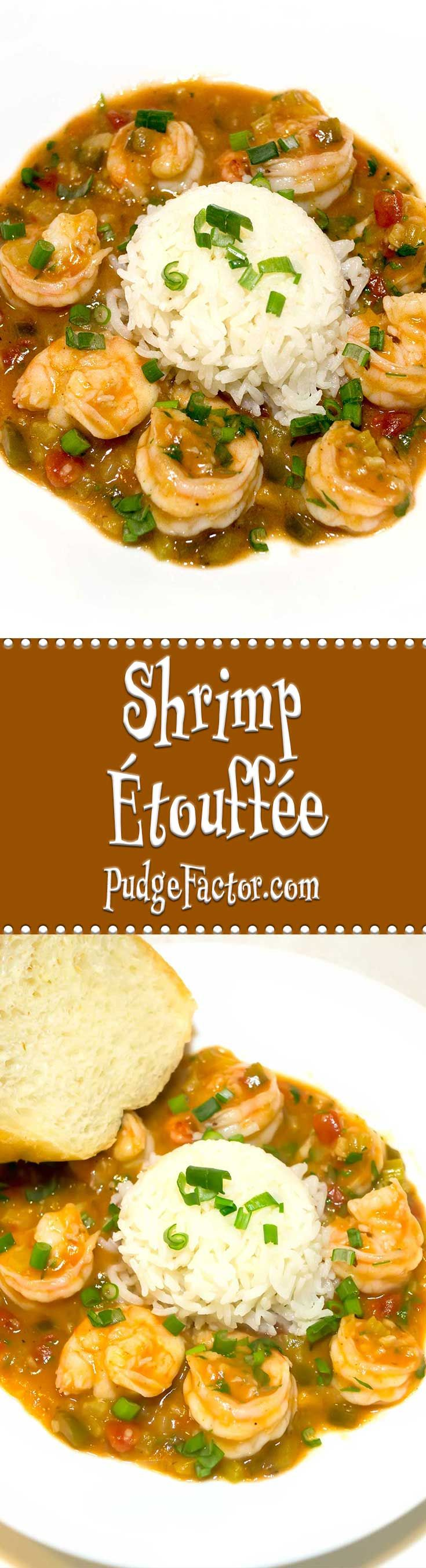 Shrimp Étouffée is a classic New Orleans dish with spicy shrimp in a delicious roux based sauce - a perfect meal to celebrate Mardi Gras.  via @c2king
