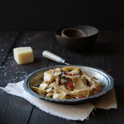 Mixed Mushroom Pappardelle Pasta with a Creamy Goat Cheese Sauce.
